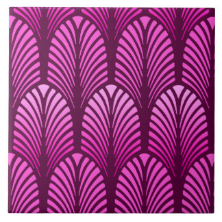Art Deco Feather Pattern, Amethyst Purple Tile