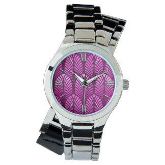 Art Deco Feather Pattern, Amethyst Purple Watch