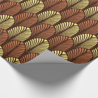 Art Deco Feather Pattern, Dark Brown and Rust Wrapping Paper