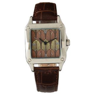 Art Deco Feather Pattern, Dark Brown and Rust Wristwatch