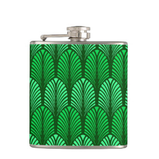 Art Deco Feather Pattern, Emerald Green Hip Flask