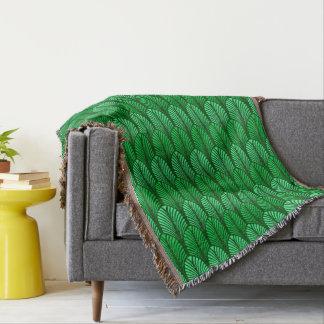 Art Deco Feather Pattern, Emerald Green Throw Blanket
