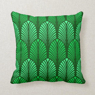 Art Deco Feather Pattern, Emerald Green Throw Pillow