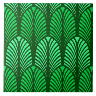 Art Deco Feather Pattern, Emerald Green Tiles