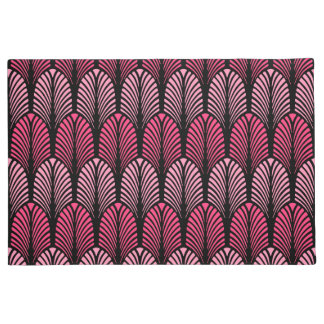 Art Deco Feather Pattern, Fuchsia Pink and Black Doormat