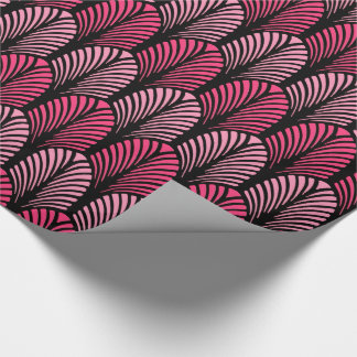 Art Deco Feather Pattern, Fuchsia Pink and Black Wrapping Paper