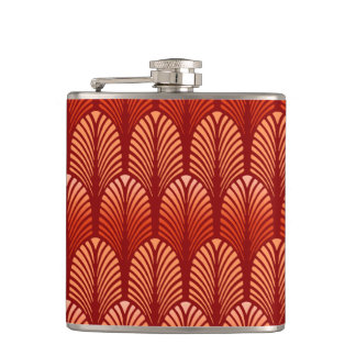 Art Deco Feather Pattern, Mandarin Orange Hip Flask