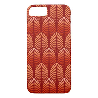Art Deco Feather Pattern, Mandarin Orange iPhone 8/7 Case
