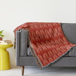 Art Deco Feather Pattern, Mandarin Orange Throw Blanket