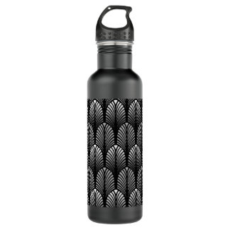 Art Deco Feather Pattern, Silver Gray and Black 710 Ml Water Bottle