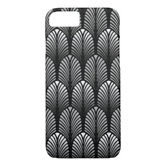 Art Deco Feather Pattern, Silver Gray and Black Case-Mate iPhone Case