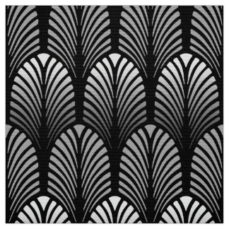 Art Deco Feather Pattern, Silver Gray and Black Fabric