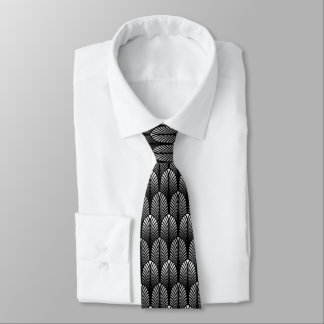 Art Deco Feather Pattern, Silver Gray and Black Tie