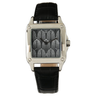 Art Deco Feather Pattern, Silver Gray and Black Watch