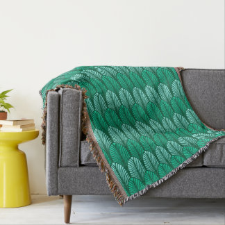 Art Deco Feather Pattern, Turquoise and Aqua Throw Blanket