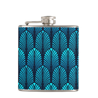 Art Deco Feather Pattern, Turquoise and Navy Hip Flask