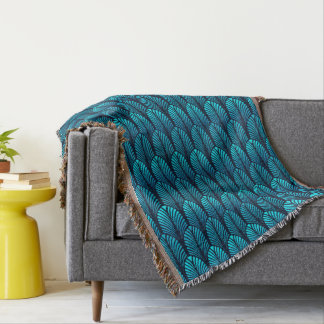Art Deco Feather Pattern, Turquoise and Navy Throw