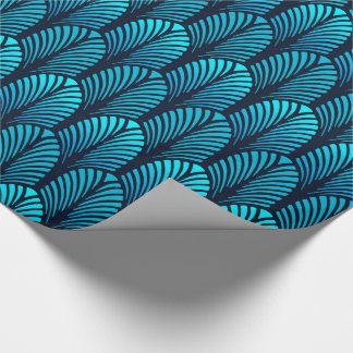 Art Deco Feather Pattern, Turquoise and Navy Wrapping Paper