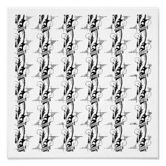 Art Deco Feathery Pattern Poster