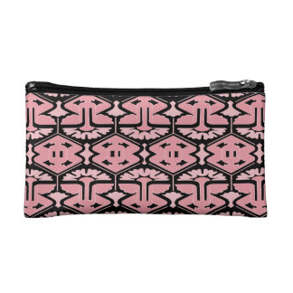 Art Deco Flair - Pink on Black Cosmetic Bags