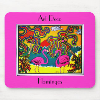 Art Deco Flamingos Mouse Pad