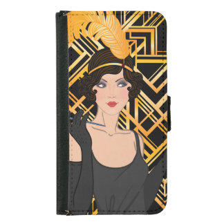 art deco, flipper girl, vintage,great Gatsby,chic, Samsung Galaxy S5 Wallet Case