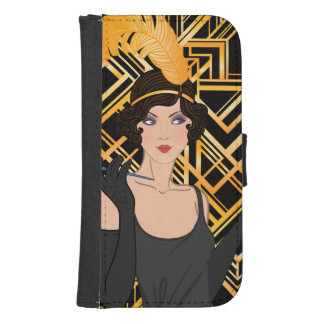 art deco, flipper girl, vintage,great Gatsby,chic, Samsung S4 Wallet Case