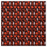 ART DECO FLORAL ,BLACK RED FLOWERS,WHITE PARROTS FABRIC
