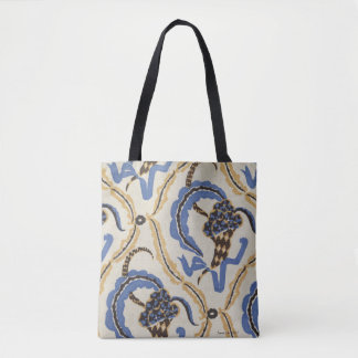 Art Deco floral design with blue,white gold Tote Bag