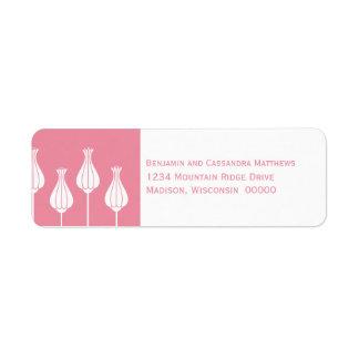 Art Deco Floral Return Address Labels, Pink