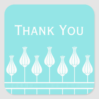 Art Deco Floral Thank You Stickers