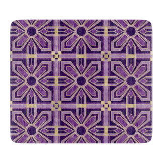 Art Deco Floral Tiles in Violet Purple Cutting Board
