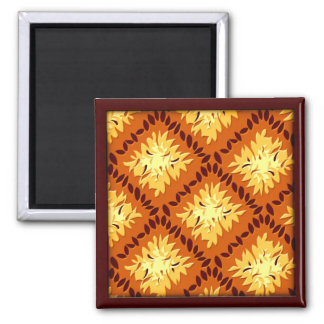Art Deco Flower Grid - Pumpkin (magnet) Magnet