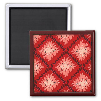 Art Deco Flower Grid - Red (magnet) Magnet