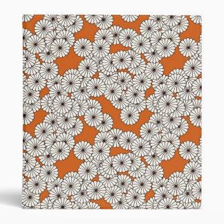 Art Deco flower pattern - cream on rust 3 Ring Binder