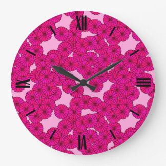 Art Deco flower pattern - magenta on pink Large Clock