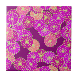 Art Deco flower pattern - shades of violet, coral Tile