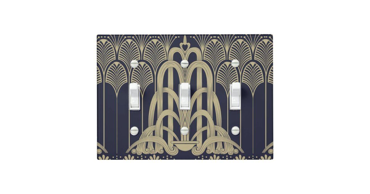 Art deco fountain light switch cover zazzle - Art deco switch plate covers ...