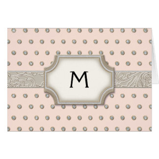 Art Deco Frame Champagne Silver Jewel Dots Card