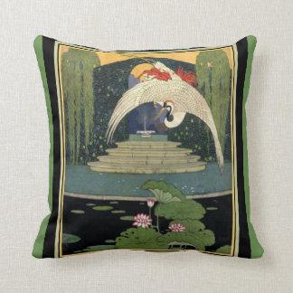 Art Deco Garden Scene Pillow