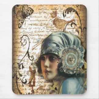 Art Deco Gatsby Girl Paris fashion Mouse Pad