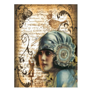 Art Deco Gatsby Girl Paris fashionista Postcard