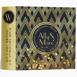 Art Deco Gatsby Glamour Geometric Pattern Monogram 3 Ring Binders