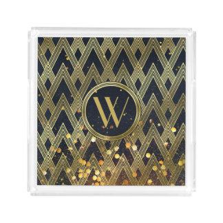 Art Deco Gatsby Glamour Geometric Pattern Monogram Acrylic Tray