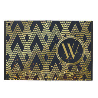 Art Deco Gatsby Glamour Geometric Pattern Monogram Case For iPad Air
