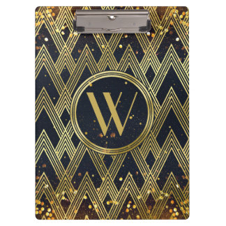 Art Deco Gatsby Glamour Geometric Pattern Monogram Clipboard