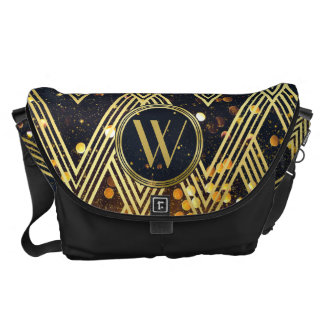 Art Deco Gatsby Glamour Geometric Pattern Monogram Commuter Bags