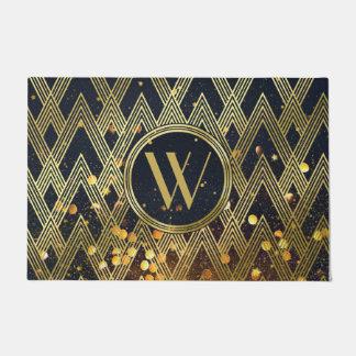 Art Deco Gatsby Glamour Geometric Pattern Monogram Doormat
