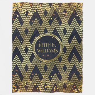 Art Deco Gatsby Glamour Geometric Pattern Monogram Fleece Blanket