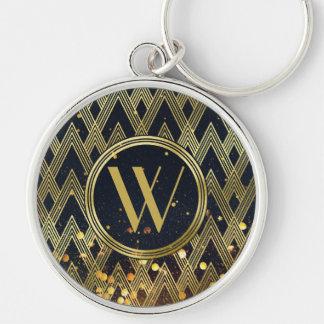 Art Deco Gatsby Glamour Geometric Pattern Monogram Keychain